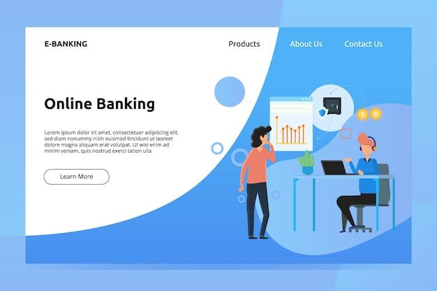 Online-banking-banner und landing-page-illustration Premium Vektoren