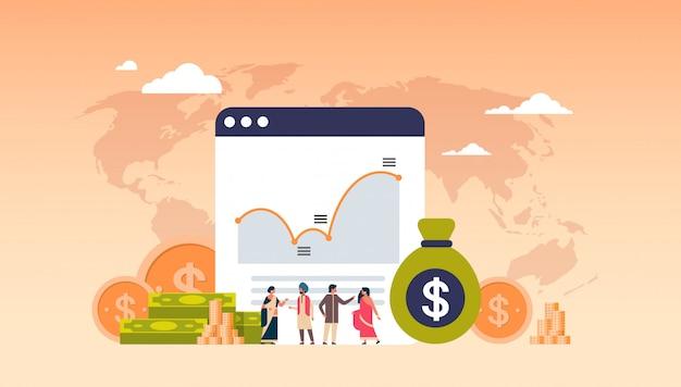 Online-banking geld graph wachstum reichtum banner Premium Vektoren