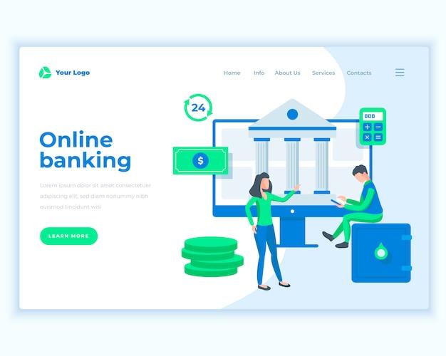 Online-banking-konzept der landing-page-schablone mit büroleuten. Premium Vektoren