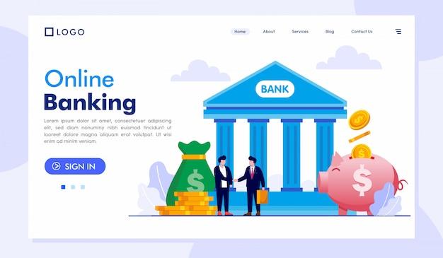 Online-banking-landing page-website-illustrations-vektor-schablone Premium Vektoren