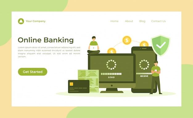 Online banking landing page Premium Vektoren