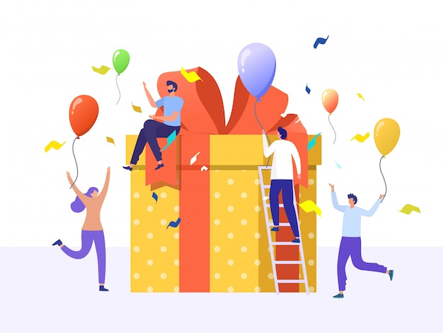 Online-belohnung, gruppe von glücklichen menschen erhalten ein geschenkbox-illustrationskonzept Premium Vektoren