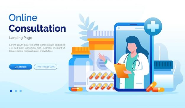 Online-beratung landingpage website illustration flache vorlage Premium Vektoren