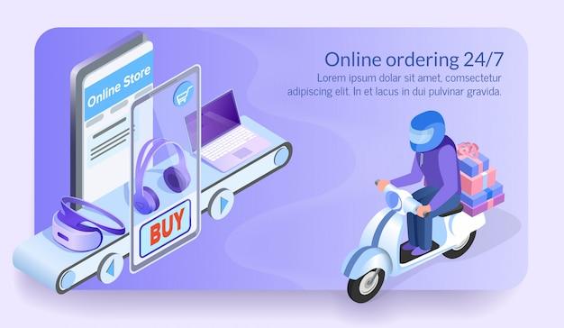 Online-bestellung 24/7 courier of electronic store. Premium Vektoren
