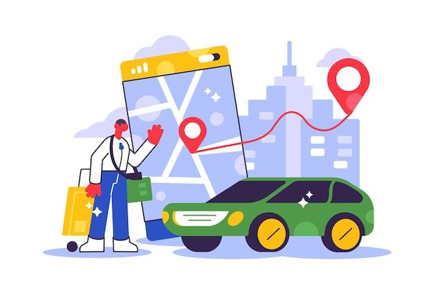 Online-bestellung von taxiautos, mieten und teilen mit der mobilen serviceanwendung. mann nahe smartphone-bildschirm mit route und punktposition auf einem stadtplan. Premium Vektoren