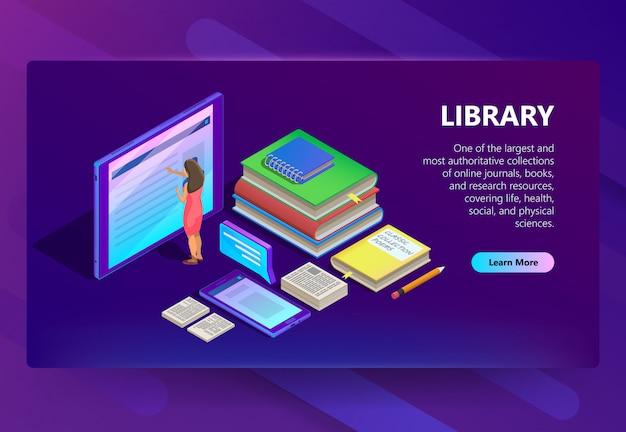 Online-bibliothek in smartphone-illustration Kostenlosen Vektoren