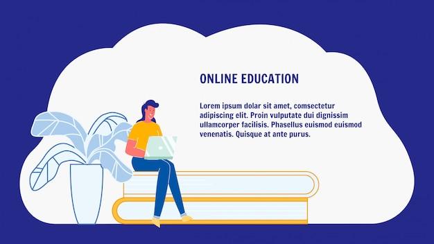 Online-bildung, e-learning-web-banner-layout Premium Vektoren
