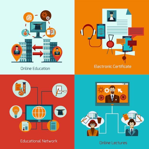 Online-bildung eingestellt Kostenlosen Vektoren