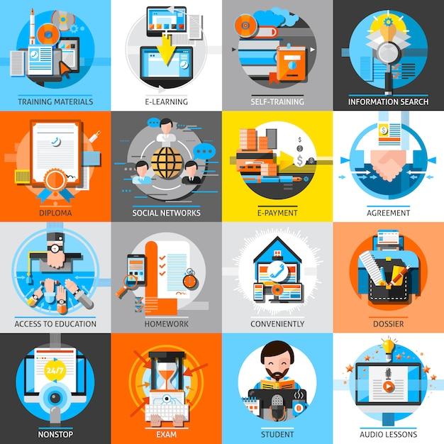 Online-bildung flache farbelemente set Kostenlosen Vektoren