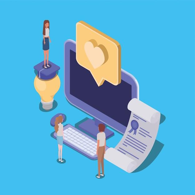 Online-bildung mit desktop- und mini-leuten Premium Vektoren