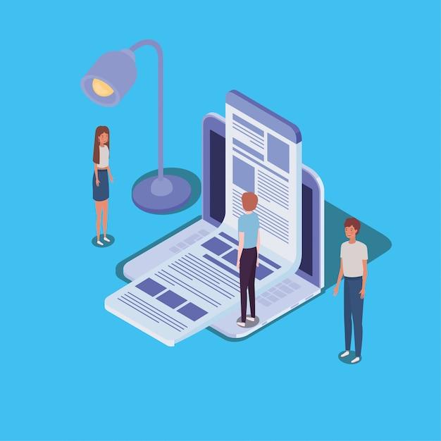 Online-bildung mit laptop und mini-menschen Premium Vektoren