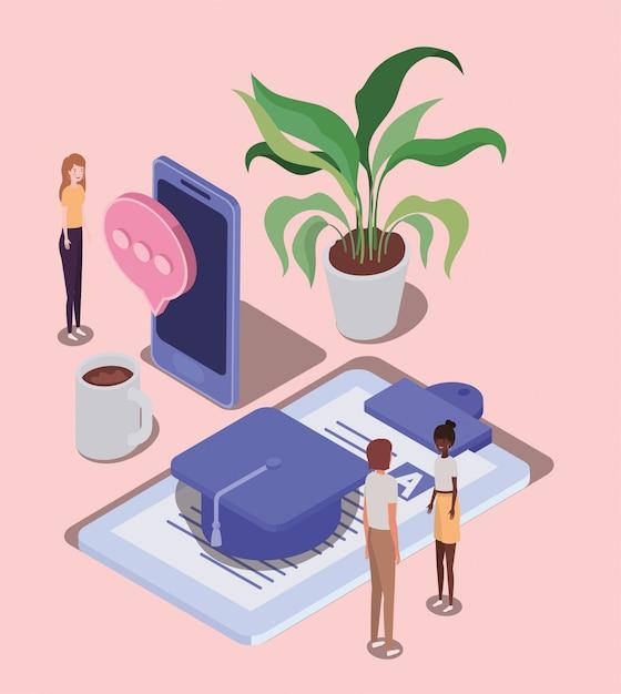 Online-bildung mit smartphone und mini-menschen Premium Vektoren