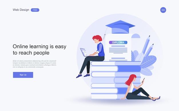 Online-bildung, schulungen und kurse, lernen. Premium Vektoren