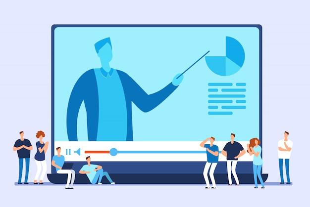 Online-bildung. video-tutorials, internet-training und webkurs Premium Vektoren