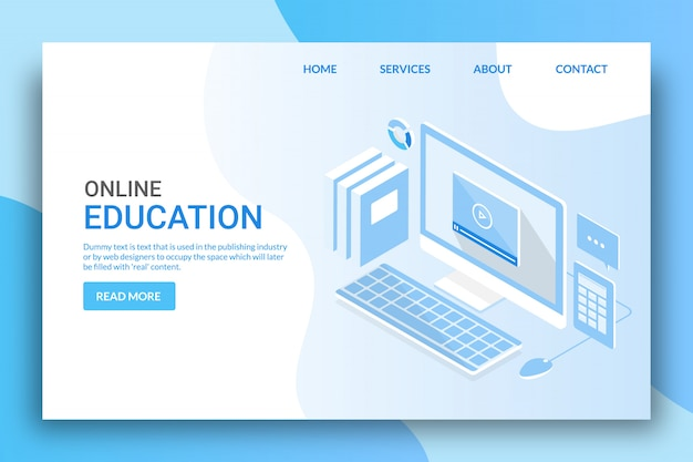Online-bildung Premium Vektoren