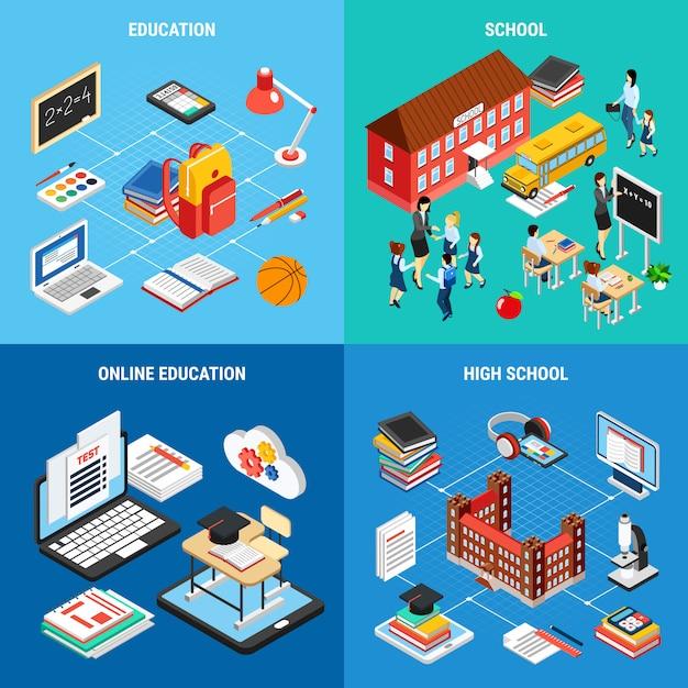 Online-bildungsbannerset Kostenlosen Vektoren