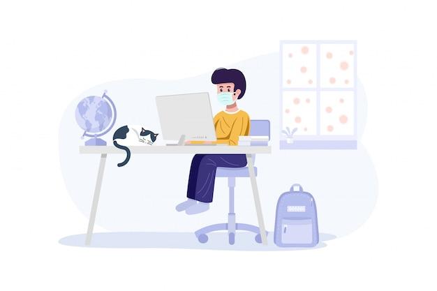 Online-bildungskonzept. ein junge, der gesichtsmaske trägt und mit computer zu hause lernt. Premium Vektoren
