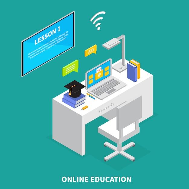 Online-bildungskonzept mit lektionen und prüfungen symbole isometrische illustration Kostenlosen Vektoren