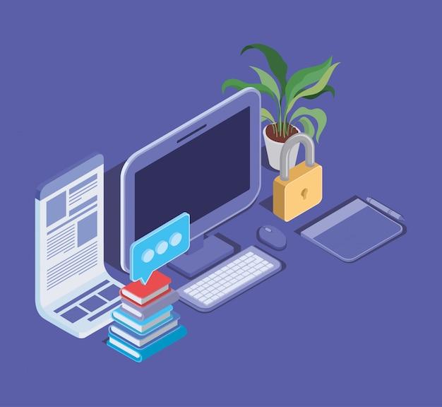 Online-bildungstechnologie mit desktop Premium Vektoren