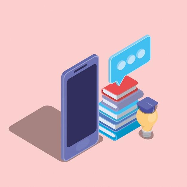 Online-bildungstechnologie mit smartphone Premium Vektoren