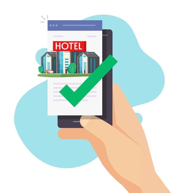 Online-buchung des hotels per handy-app oder motel-apartment mit personenreservierung im internet Premium Vektoren