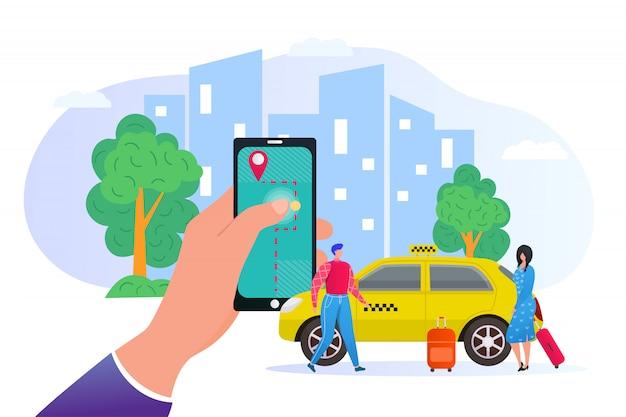 Online-buchung eines taxis über eine mobile anwendung in der telefonillustration. wolkenkratzer in der stadt, passagiere und autoservice, transport mit gelbem taxi. smartphone app um taxi online zu bestellen. Premium Vektoren