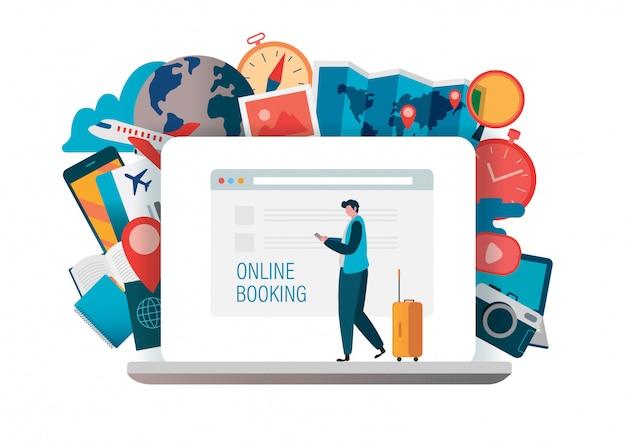 Online-buchung Premium Vektoren