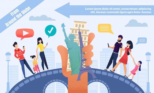 Online-buchungstour für world voyage anzeigenvorlage Premium Vektoren
