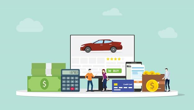 Online-car-shopping-e-commerce-technologie mit team-mitarbeitern Premium Vektoren