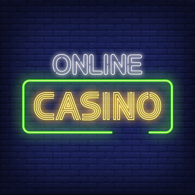 Online casino neon text im rahmen Kostenlosen Vektoren