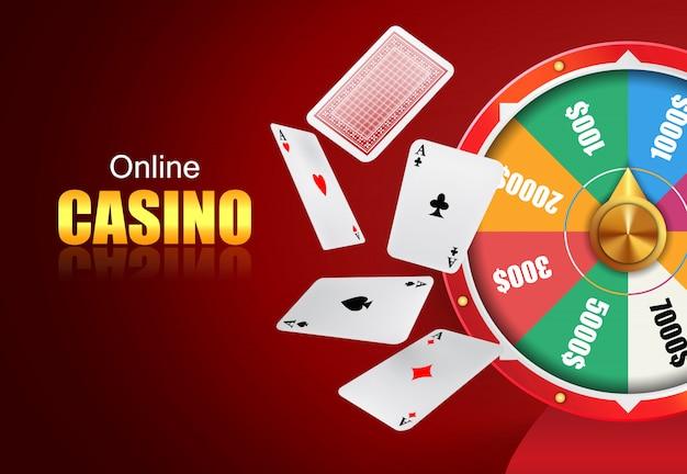 Online casino schriftzug, glücksrad und fliegende spielkarten. Kostenlosen Vektoren