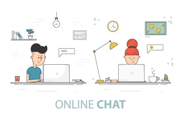Online chat hintergrund Premium Vektoren