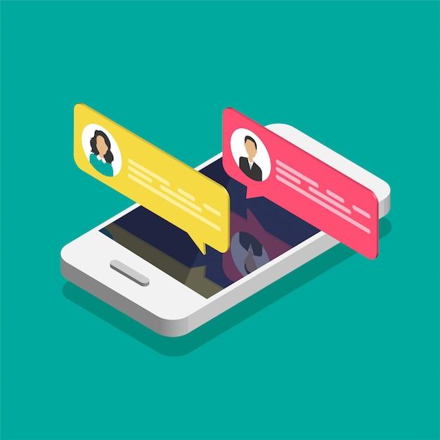 Online-chat-konzept. isometrisches smartphone mit dialogfeldern. Premium Vektoren