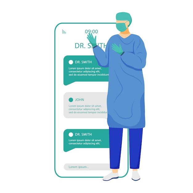 Online-chat mit dem bildschirm der smartphone-app des chirurgen. fernärztliche beratung. fragen sie den facharzt. handy-displays mit comicfiguren. telefonschnittstelle für telemedizinanwendungen Premium Vektoren
