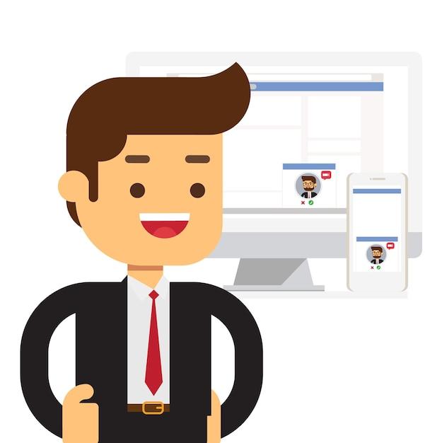 Online-chat-technologie, geschäftsmann Premium Vektoren