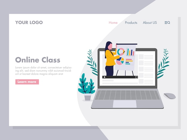 Online class präsentation illustration für die zielseite Premium Vektoren