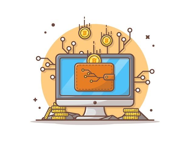 Online-cryptocurrency-vektor-ikonen-illustration Premium Vektoren