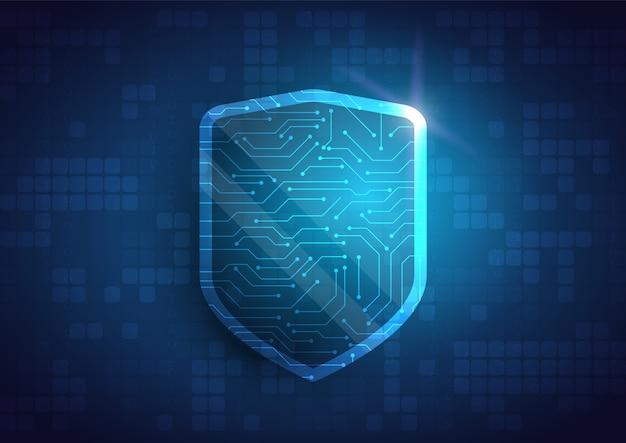 Online-datenschutzschild und zusammenfassung mit computertechnologie Premium Vektoren
