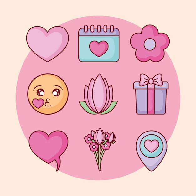 Online-dating-bezogene symbole Premium Vektoren