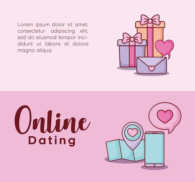 Online-dating infografik Premium Vektoren