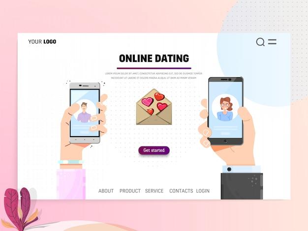 Online-dating - landing-page-vorlage. websitehand, die flaches konzept des entwurfes des smartphone hält Premium Vektoren