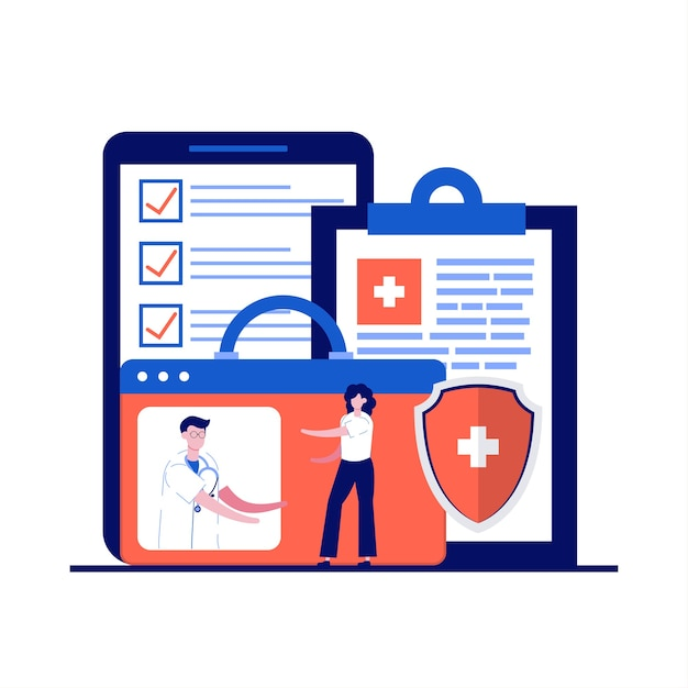 Online-diagnosekonzept mit charakter. patient auf professionelle beratung. digitale plattform für gesundheitswesen, telemedizin und medizinische dienstleistungen. Premium Vektoren