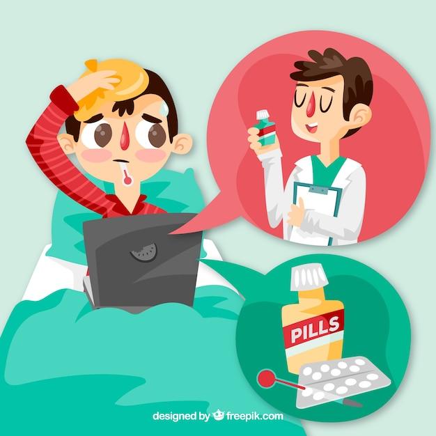 Online Doktor Konzept Mit Mann Im Bett Download Der Kostenlosen Vektor