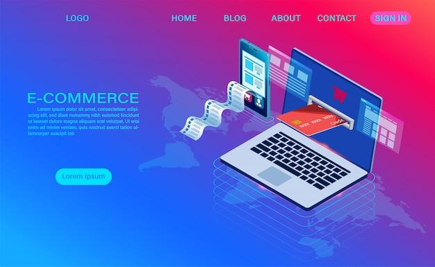 Online-e-commerce-shopping mit computer und handy. isometrische 3d-vorlage Premium Vektoren