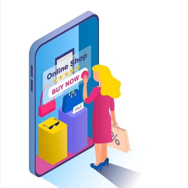 Online einkaufen. blondes mädchen wählt waren im online-shop. Premium Vektoren