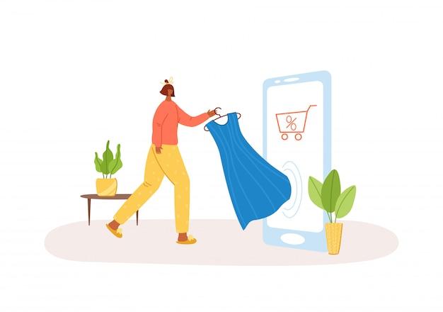 Online einkaufen. frau kauft kleid am telefon, e-shop-konzeptillustration Premium Vektoren