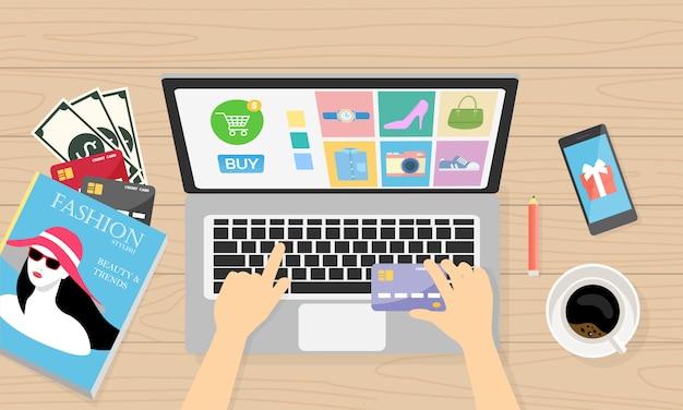 Online einkaufen mit bargeld und kreditkarte für den kunden Premium Vektoren