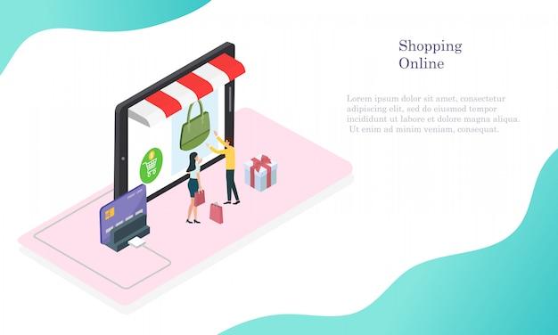 Online einkaufen mit bargeld und kreditkarte für den kunden. Premium Vektoren