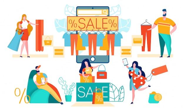 Online einkaufen mit mobile app Premium Vektoren