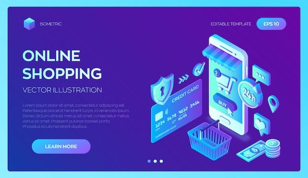 Online einkaufen. smartphone. 3d isometrische bankkarte, geld und einkaufstasche. Premium Vektoren